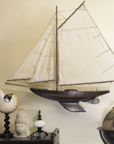 A yacht from 1901, built to scale and used as a child's pond yacht. Reproduction true to every detail.