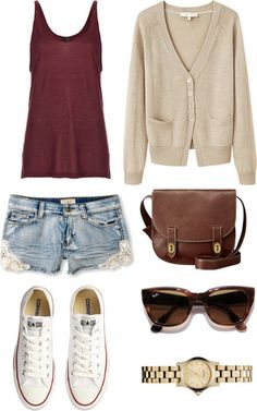 Shorts with a red tank top, a cardigan, and a satchel bag. Top it off with a pair of sun glasses oxblood burgundy white canvas sneakers