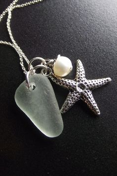 Sea glass cluster necklace.