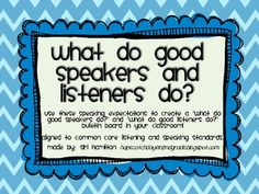 Chevron Common Core Speaking and Listening Expectations Bulletin Board Kit!