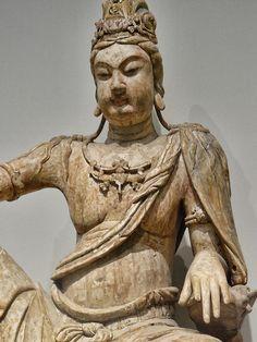 Closeup of Bodhisattva Avalokiteshvara (Guanyin) Liao Dynasty 10th-11th century CE wood with gesso by mharrsch, via Flickr
