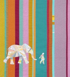Elephant and I designed by Jennifer Sampou. Features #studiostashfabric by Jennifer Sampou, shipping to stores January 2016.