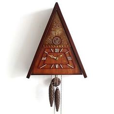 UNUSUAL-MAUK-Cuckoo-Gorgeous-Wall-Clock-Vintage-ART-DECO-GONG-Chime-Wood-Brass