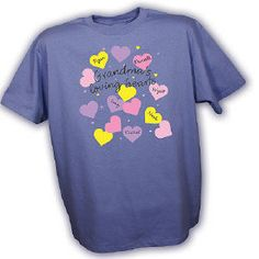 Let her bring her loved ones with her everywhere she goes with this personalized My Loving Hearts t-shirt. Your Personalized Grandma Shirts will be customized with any title and up to 30 kids names! Great Mother's Day gifts, her birthday gifts and more. Personalised Love Hearts, Personalized Gifts For Mom, Personalized Shirts, Great Grandma Gifts, Great Mothers Day Gifts, Mom And Grandma, Nana T Shirts, Best T Shirt Designs, Yellow T Shirt