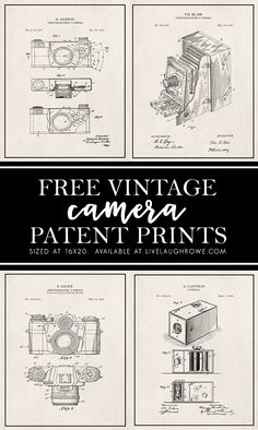 These free vintage patent prints are perfect to add to your farmhouse, rustic, or industrial decor. The camera patent art makes great gifts for the photographers in your life too! Free Patent, Free Printable Art, Free Printables, Camera Art, Patent Drawing, Vintage Art Prints, Patent Prints, Free Prints, Illustrations
