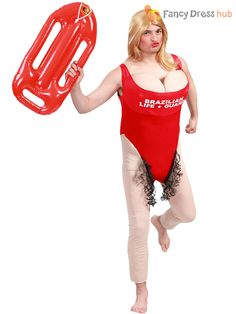 f1304026c121 Mens Lifeguard Costume + Fake Boobs Adult Funny Fancy Dress Stag Party Do  Outfit