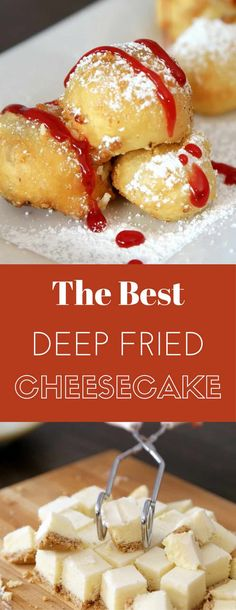 Deep Fried Cheesecake - you can't resist this delicious dessert made with your favorite frozen or leftover cheesecake. It only requires a few simple ingredients: flour, baking powder, salt, sugar, milk and oil. It's great for a party, cheat days or a midnight snack. So yummy! No bake dessert. Vegetarian. | tipbuzz.com