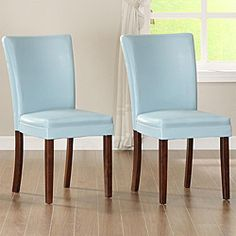 @Overstock - Add a little flair to your dining room or seating area with these sky blue parson chairs. Instantly update your space with these poplar wood and faux leather chairs. The faux leather features makes for easy cleaning and kid-friendly seating.http://www.overstock.com/Home-Garden/ETHAN-HOME-Parson-Estonia-Sky-Blue-Chairs-Set-of-2/5171779/product.html?CID=214117 $184.49