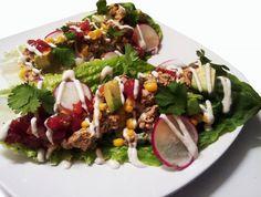 Raw Tacos with Spicy Sunflower Walnut Meat, Jicama Rice & Cashew Sour Cream - vegan