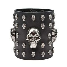#Metal #Gothic Broad leather  bracelet with skulls and studs www.attitude-europe.com