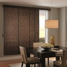 Bali® Sliding Panels: Natural Shades is an eco-friendly choice for your window treatment needs. Sliding Panel Blinds, Sliding Door Window Treatments, Sliding Patio Doors, Custom Window Treatments, Sliding Door Shades, Sliding Door Coverings, Front Doors, Barn Doors, Wood Doors