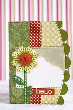 Sweet & Cheery Hello Card...with cutout flower...Inspired by Kristina Werner at Summer Card Camp.
