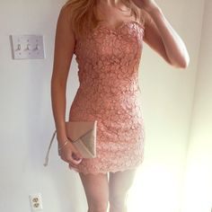 Forever21 pink/peach bodycon lace dress Pink/peach colored lace bodycon dress from Forever21. Hits mid-thigh. New with tags. Last picture is shown with an Express clutch, also on sale in my profile! Forever 21 Dresses Mini