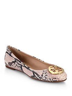 Tory Burch - Reva Python-Embossed Leather Ballet Flats
