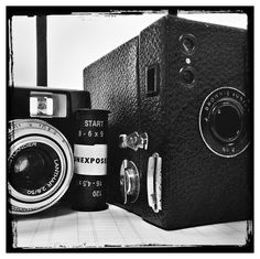 Old School Photography:  iPhone shot of my (my Great Grandfather's) old Kodak Brownie Box, 120 film about to go in and a Voigtlander Vito CL.   iPhone shot