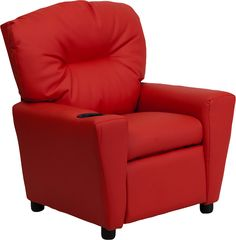 Ashley red kids recliner with a cup holder for your convenience.