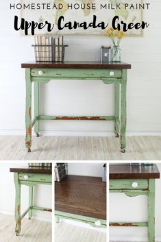 Green Painted Table by The Driftwood Home. Furniture Makeover Ideas.