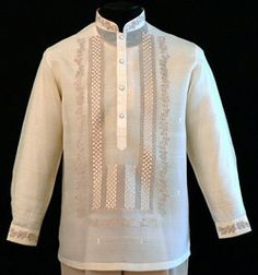 Classic Pina-Jusi Fabric Barong Tagalog - Barongs R us - Barongs R us Barong Tagalog Wedding, Barong Wedding, Barong Tagalog For Women, Wedding Entourage, Wedding Suits, Wedding Attire, Wedding Gowns, Latifa, Filipino Wedding