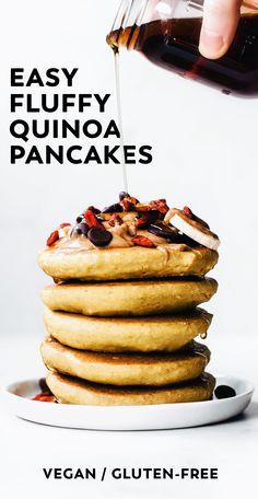 Fluffy Quinoa Pancakes #vegan #glutenfree #breakfast #healthy #veganrecipe #easyrecipe