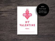 Bee My Valentine Day Card  Kid's Bee My Valentine by paperieshop