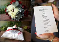 ohio state themed wedding | ohio state wedding details with buckeye and helmet.jpg