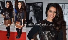 Shraddha attended Dabboo Ratnani's calendar launch wearing separates, a metallic sweatshirt and a brown leather skirt, both from Madison. She finished off the look with Chanel thigh-high boots and sling bag. Well I have to admit that I am not a fan of this whole look but neck up she looked lovely.