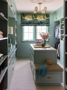 Why not make the ritual of getting dressed every morning fun? That's what we tried to do in this closet in our project. Master Closet, Closet Bedroom, Walk In Closet, Painted Closet, Closet Island, Closet Colors, Dressing Room Design, Dressing Area, Dressing Rooms