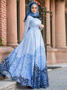 Desenli Elbise - Mavi - Muslima Wear