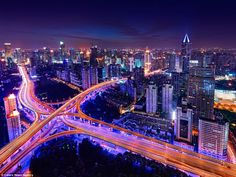 The winding bridges of Yanan East Interchange in Shanghai are portrayed beautifully in the...