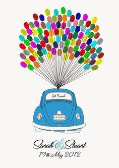 Personalised VW Beetle Fingerprint Wedding Guest Book Perhaps change the car. Fingerprint Wedding, Finger Art, Wedding Guest Book Alternatives, Wedding Ideas, Modern Wedding Inspiration, Footprint Art, Love Bugs, Vw Beetles, Alternative Wedding