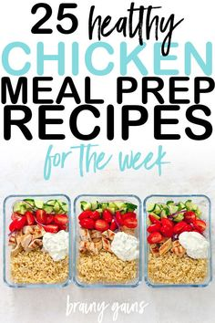 25 Healthy Chicken Meal Prep Recipes You'll Actually Enjoy Eating - Meal prepping is becoming increasingly popular these days, and it's not without good reason. Lunch Meal Prep, Easy Meal Prep, Healthy Meal Prep, Healthy Drinks, Easy Meals, Healthy Eating, Dinner Meal, Vegetarian Meal, Healthy Lunches
