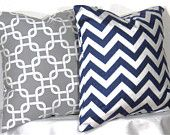 Decorative Pillows 1 Grey and White Gotcha Zig Zag and 1 Navy and White Chevron Accent Pillow - 16 x 16 inch square - TWO PILLOW COVERS. $23.00, via Etsy.