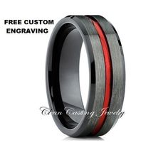 Tungsten Wedding Band,Tungsten Wedding Ring,Red Tungsten Ring,Gunmetal Tungsten Band,Comfort Fit,Unique Tungsten
