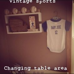 Vintage Sports Nursery. I love the blocks and baseballs. I have to get Justin a baby jersey too!