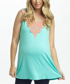 Love this PinkBlush Mint & Coral Crochet Maternity Tank - Women on #zulily! #zulilyfinds