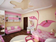 praktichnyie polki v vide rozovogo dereva dlya devochki kopija 13 Pink Gypsum Board Design for Girl Kids Room That Looks Impressive Bedroom 2018, Girls Bedroom, Bedroom Decor, Gypsum Board Design, Modern Kids Bedroom, Plafond Design, Pink Room, Little Girl Rooms, Home Interior