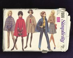 1968 Simplicity 7866 Mod Cape with Large Collar and by MrsWooster, $10.00