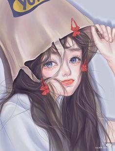 Manga Girl, Anime Art Girl, Girl Cartoon, Cartoon Art, Cute Panda Wallpaper, Kawaii Illustration, Pretty Drawings, Beautiful Fantasy Art, Anime Girl Drawings