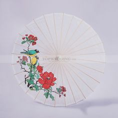 Satin Wedding Umbrella with Peony and Bird Painting