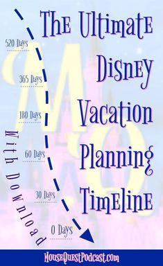 Walt Disney World / Disneyland / Disney Cruise Line / Planning / Timeline / Ultimate Disney Vacation Planning Timeline