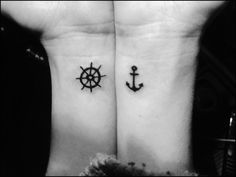 """Be the one to guide me, but never hold me down."" Nautical tattoos: ship wheel and anchor. In love<3"