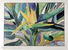 Original Watercolor by Susan Marie Fairclough, Bird of Paradise or Hawaiian Bird, Matted 36X28