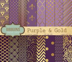 Purple Plum and Gold Foil Textures 16 Pack by OriginsDigitalCurio