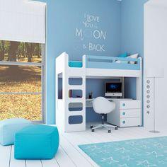 Convertible crib - stage junior - bunk. Cuna convertible color celeste para niños: litera cama alta con escritorio. Descúbrelos en www.alondra.es