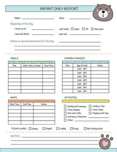 Printable Nanny Log - Daily Infant Care Sheet - Babysitter Caregiver Baby Tracking Page - PDF Instan - lil' babies - Babysitting Infant Room Daycare, Daycare Rooms, Home Daycare, Infant Classroom Ideas, Infant Daycare Ideas, Home Childcare, Daycare Daily Sheets, Infant Daily Report, Nanny Binder