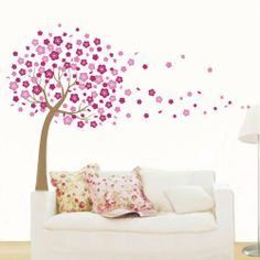 Pink Flying Cherry Blossom Flower Tree - Self-adhesion & Removable DIY Vinyl Wall Decals Stickers Appliques Home Decor Art Mural Wallpaper Wall Art , http://www.amazon.co.uk/dp/B00BWJA0NA/ref=cm_sw_r_pi_dp_r2njtb0G5N9DV
