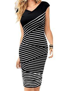 Choies Women's Mixed Stripe Sleeveless Bodycon Midi Dress