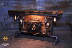 Steampunk Industrial / Antique Steam Gauge / Heine Boiler Company / St Barn Table, Door Table, Industrial Machine, Industrial Table, Steampunk Table, Coffee Steam, Minnesota, Fire Sprinkler, Console