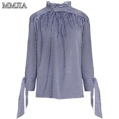 >> Click to Buy << Long Sleeve Striped Stand Collar Blouse Shirt Women New 2017 Spring Fashion Clothing Top With Tie Casual Loose Office Wear Blusa #Affiliate