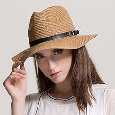 Belt buckle straw panama hat for women summer sun hats